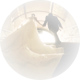 Newly weds walking out from a subway